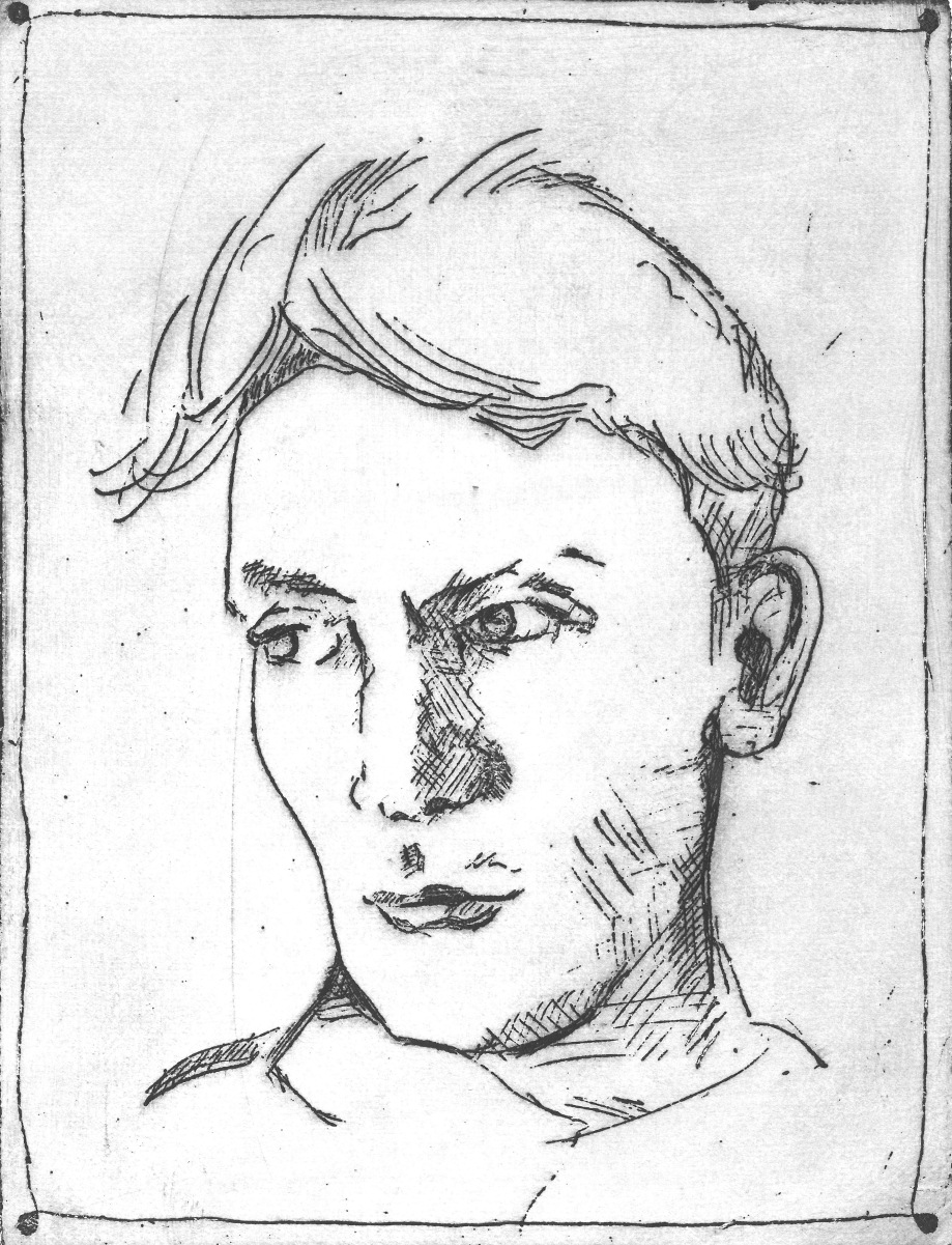 C.HUGHES. SELF PORTRAIT.  ETCHING